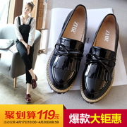 ZHR2017 new spring shoes shoes British style tassel rough documentary all-match female high-heeled shoes shoes casual shoes