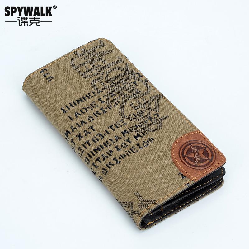 SPYwalk钱包男青年长款韩版多卡位 学生钱夹帆布休闲情侣钞票夹