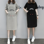 Europe 2017 spring cotton large size women long paragraph hoodies leisure mm fat thin dress tide