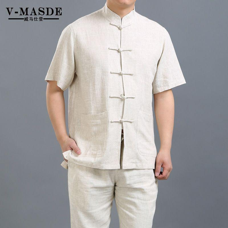 Linen cotton Chinese middle-aged man costume suit collar, short sleeved summer wind Hanfu Dad