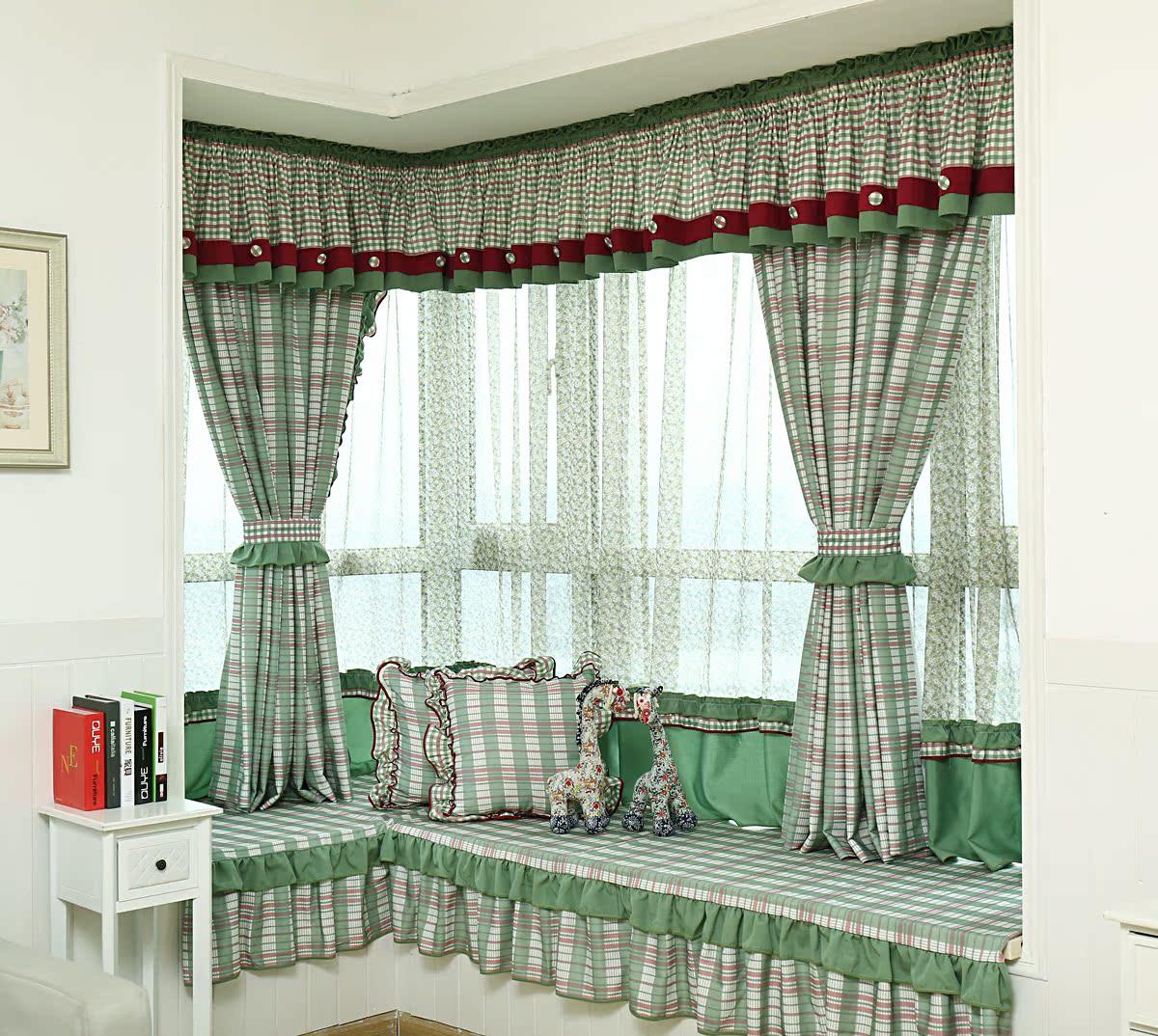 2016新款棉布材质田园风格绿色格子飘窗窗帘 短帘 卧室 阳台
