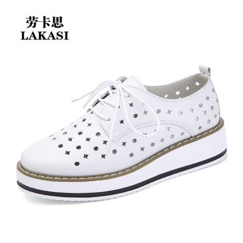 2017 spring and summer new leather shoes Korean hollow slope with thick soles muffin casual shoes all-match white shoes