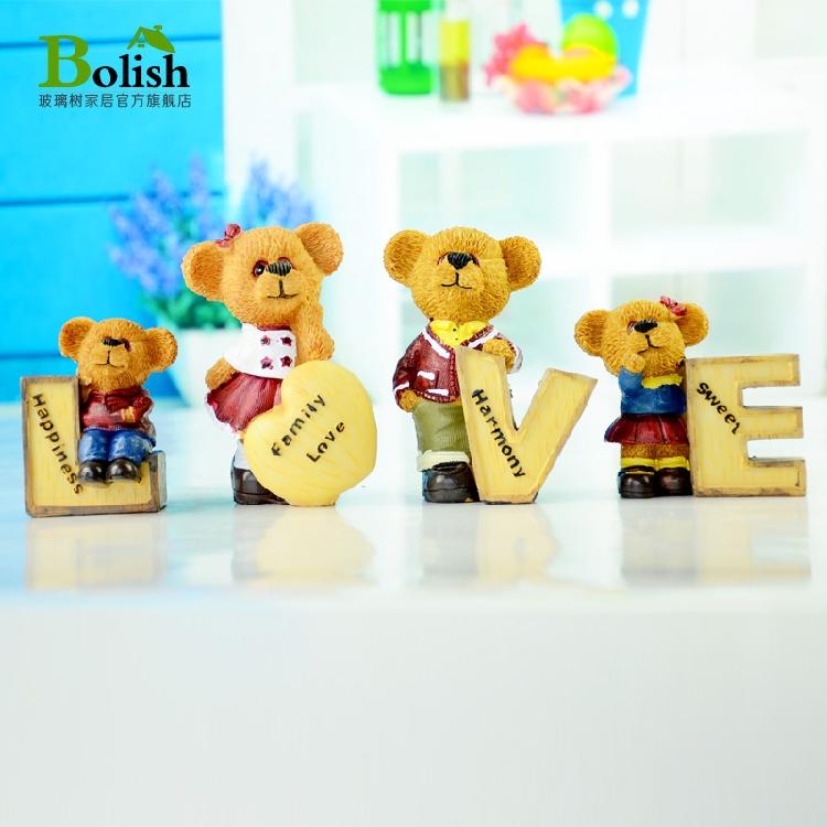 love泰迪熊小摆件可爱树脂动物家居装饰品创意客厅酒柜电视柜摆设