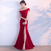 A new bride toast clothing shoulder 2017 summer fish tail length red wedding dress party dress female