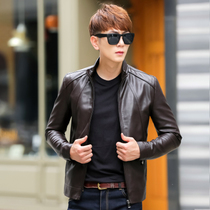 Leather mens jacket short bi-2017 spring thin new Korean version of the slim young Pu mens jackets tide