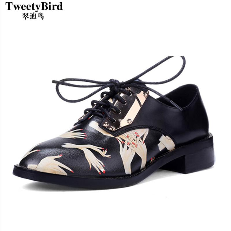 奢侈品牌 Tweetybird 2015新款潮鞋低帮透气系带深口中跟英伦女鞋