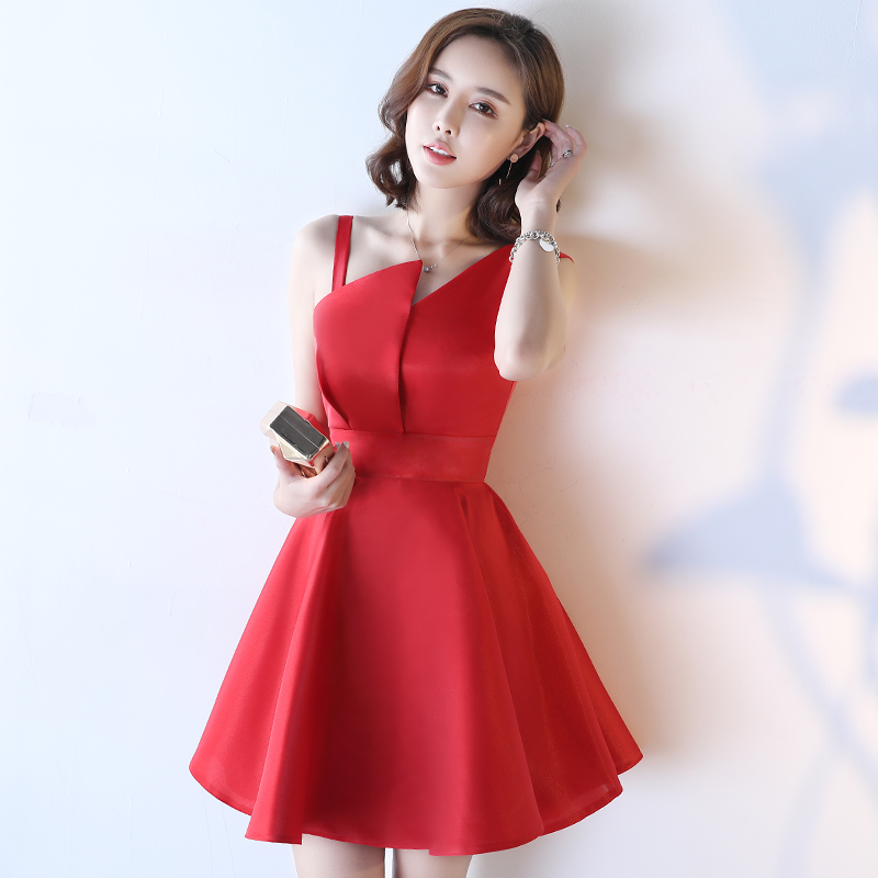 New style evening dress Korean version of the pengpeng dress banquet host dress of the short princess sister K7K