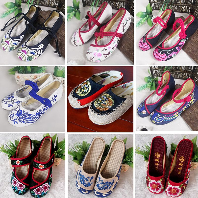 Two pairs of special offer 50 yuan a folk style shoes tendon with round bottom slope shallow mouth with low women's shoes