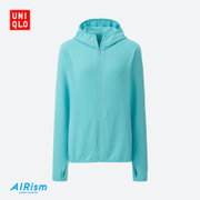Womens AIRism mesh Zip Hooded cardigan movement (sleeve) 188210 of its UNIQLO