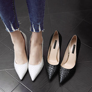 Drill a golden white high heels with a fine black female pointed shoes Korean all-match shoes spring 2017 new summer