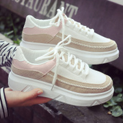 South Korea low Mark line sport shoes, casual shoes all-match autumn student new Harajuku thick soled shoes Muffin