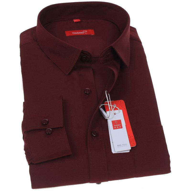男士商务夏季衬衫男长袖纯色酒红色枣红寸衫中老年爸爸装衬衣薄款