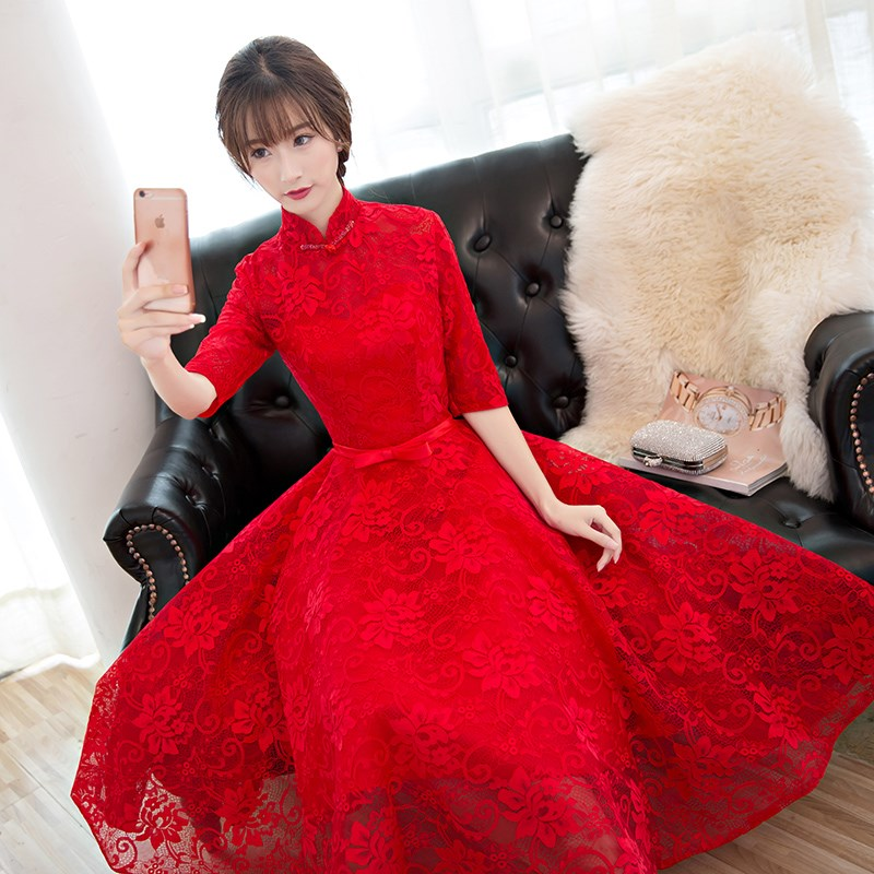 Toast dress bride 2017 new spring, spring and summer red body, long sleeved wedding dress, thin evening dress