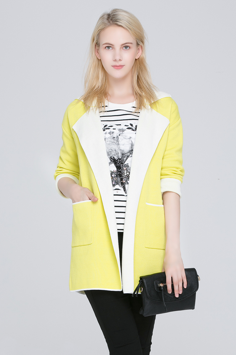 Lagogo/pull canyon 2015 autumn sweater cardigan female long loose ECJ503EA25 in the spring and autumn