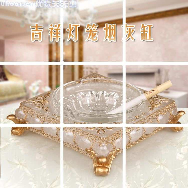 Shipping fashion resin crystal ashtray creative personality give large European style living room retro gift ashtray