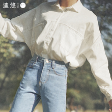2018 Spring New White Shirt Women's Han Fan Long sleeve College Wind Loose Korean Wild Student Shirt