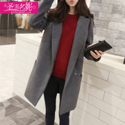 South Korea's 2016 autumn and winter in the long section of the new women's Korean woolen coat woolen coat thick loose girl