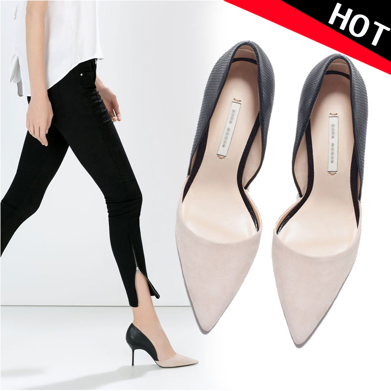 Fall 2015 new point light women's shoes leather colour matching high heels sexy pierced women's slimmer heel wedding shoes