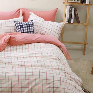 秋冬全棉加厚保暖磨毛四件套简约现代风条纹格子纯棉床上用品家居