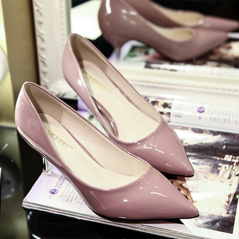 2015 new sharp shallow slim stiletto high heels nude work in autumn shoes Black patent leather women's shoe