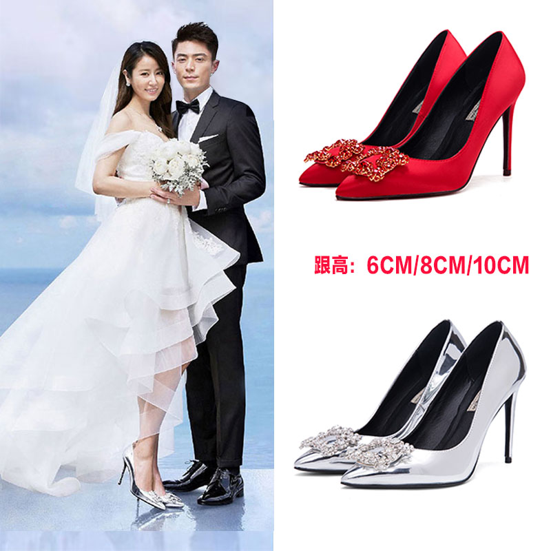 Crystal shoes, wedding shoes, high heels, White Rhinestone shoes, bride shoes, fine heel boots, pointed shoes, single shoes, new shoes