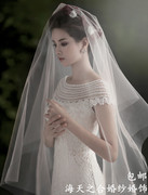 The bride veil concealed in simple single yarn 3 meters 1.5 meters short of 5 meters long soft veil veil wedding dress new