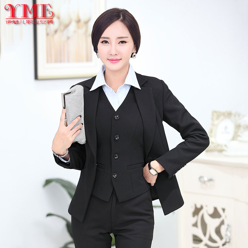 Professional chaps in autumn and winter fashion women plus size long sleeve slim dress suit suits vest OL tooling work uniforms