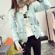 Female short solid color Cardigan Sweaters college students long sleeve Jacket Womens spring and autumn wind coat Korean loose outside