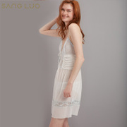 New sexy white cross sang Luo silk silk nightwear female summer suit