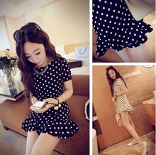 The new summer dress Dot Chiffon Dress 2015 summer in the long spring summer dress female thin short sleeved dress