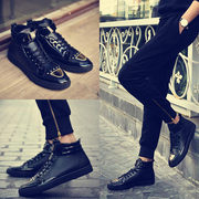 In the spring of new men's casual shoes slim Korean high shoes trend rise in rivet hip-hop shoes