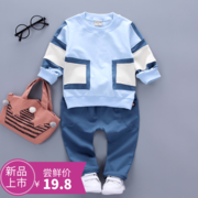 2017 new female baby spring long sleeved suit 1-2-3 infant wear two piece of cotton.