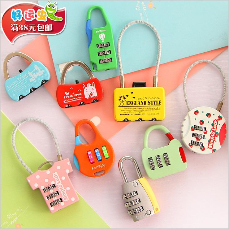 新款卡通密码挂锁迷你时尚款可爱密码锁爱情锁卡通日记本锁箱包锁