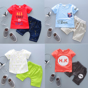 The boy wear short sleeved suit new female baby infant and children clothes set of two 1-2-3-4 years old summer tide