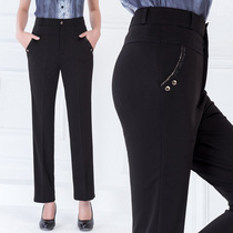Years old pants high waist stretch trousers middle-aged with velvet padded straight casual plus size MOM pants