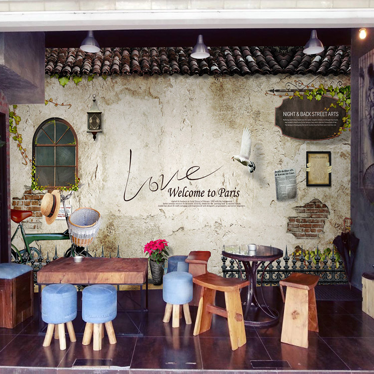 Tea shop wallpaper lounge hall Coffee background wallpaper retro brick wood mural 3D stereo
