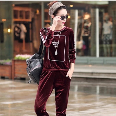 2015 fall clothes comfortable gold dye printing long sleeve velour sweat suits women fashion pants leisure suit of genuine