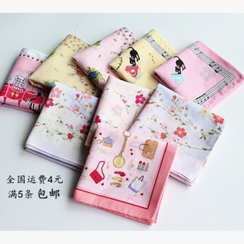 Five packages mailed the 60 ms reactive printing cloth cotton handkerchief Japanese cherry blossom soft much money