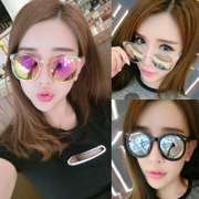 Sunglasses tide female star glasses 2017 new round personality Sunglasses woman round face Korea elegant eyes