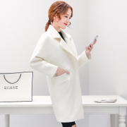 2017 autumn and winter cocoon type wool tweed coat girls long Korean temperament show thin white woolen coat fashion tide
