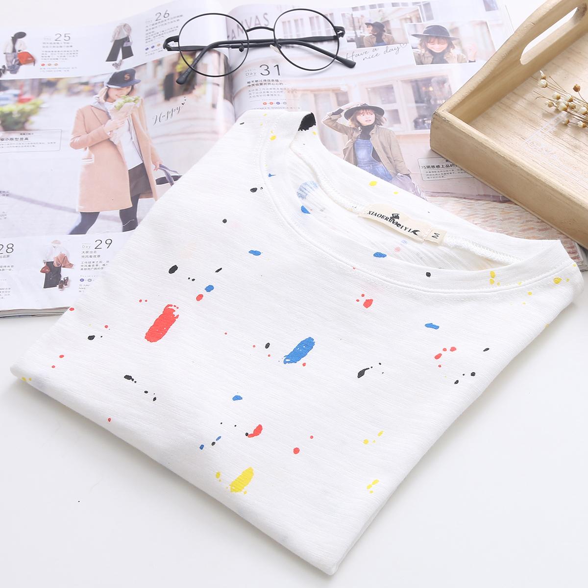 小喵衣舍新款韩版休闲文艺范涂鸦彩点印花T恤女棉质圆领短袖上衣