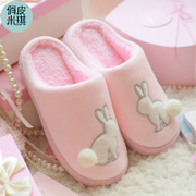 Cotton slippers bag with thick bottom in the warm winter month male Home Furnishing indoor winter slippers cute couple