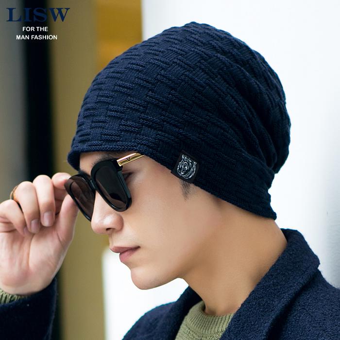 帽子男韩版潮秋冬天季针织帽加绒毛线帽子冬男套头帽户外包头帽