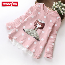 Girls shirts childrens wear 2017 spring new Korean version of children in childrens long sleeve t-shirt cotton bottoming shirt girl