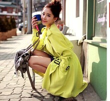 South Korea's 2016 spring new East Gate ladies candy colored double breasted tie in the long slim windbreaker jacket