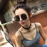 2017 New South Korea sunglasses, 2016 sunglasses, female round face, personality tide, star model, red same model Sunglasses