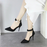 2017, spring and summer fine with high-heeled shoes, super white diamond, word buckle, sexy hollow shoes, shoes, pointed single shoes