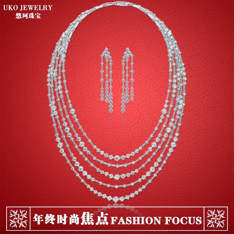 范冰冰同款s925纯银镶钻流苏项链女锁骨链耳钉晚宴婚礼首饰套装
