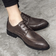 Summer business casual shoes men pointy black dress youth British retro shoes in Korean men's shoes.