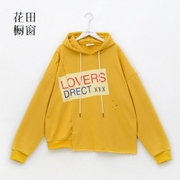 The flower window A117 Korean oversize irregular hole letter BF Hoodie autumn new female